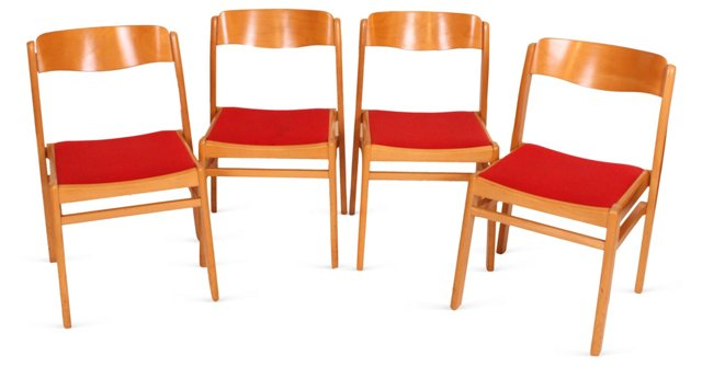 Red Mid-Century Modern Chairs, Set of 4