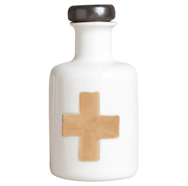 Cross Apothecary Bottle, White/Gold
