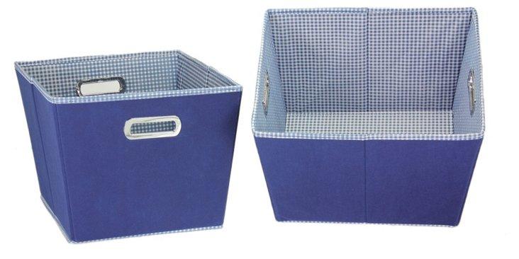 S/2 Small Storage Bins, Blue