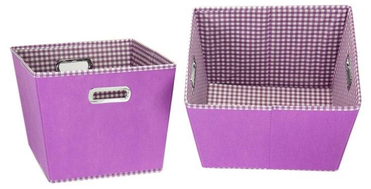 S/2 Medium Storage Bins, Purple