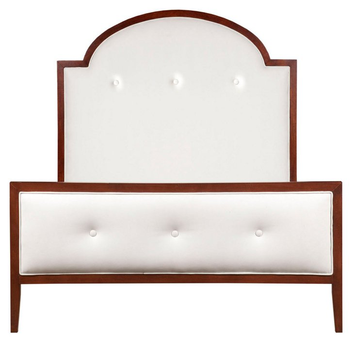 John Panel Bed, White Leather