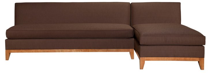Katie Reversible Sectional, Chocolate