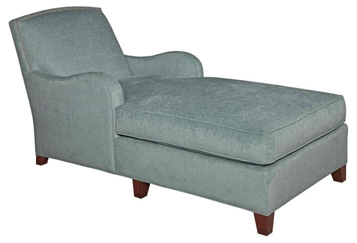 Sydney Velvet Chaise, Light Blue
