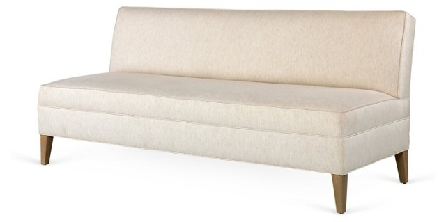 "Kate 78"" Linen Banquette Sofa, Ivory"
