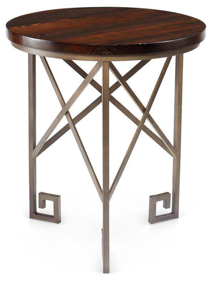 """Gertie 24"""" Round Side Table, Espresso"""