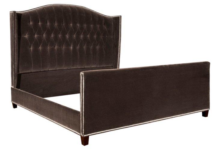 Charles Velvet Tufted Bed, Brown