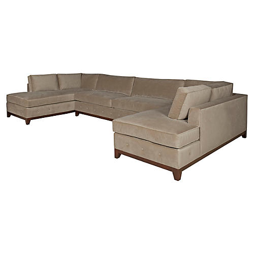 Raegan 3-Piece Sectional, Mink Velvet