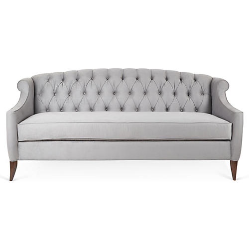 Coco Tufted Sofa, Pewter Velvet