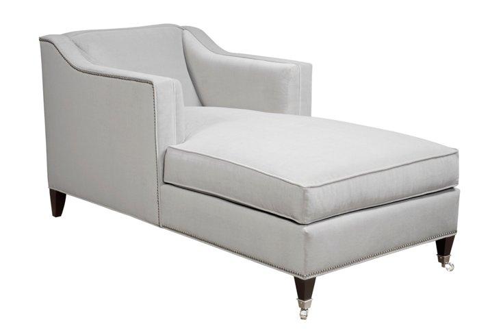 Lois Velvet Chaise, White