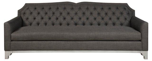 "Julie 86"" Tufted Sofa, Charcoal"