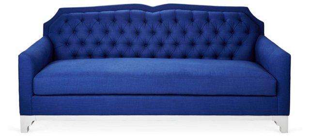 """Julie 86"""" Tufted Sofa, Cobalt"""