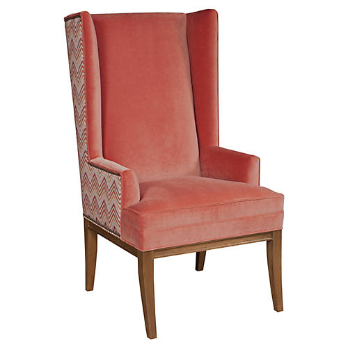 Kevin Wing Chair, Terracotta Velvet