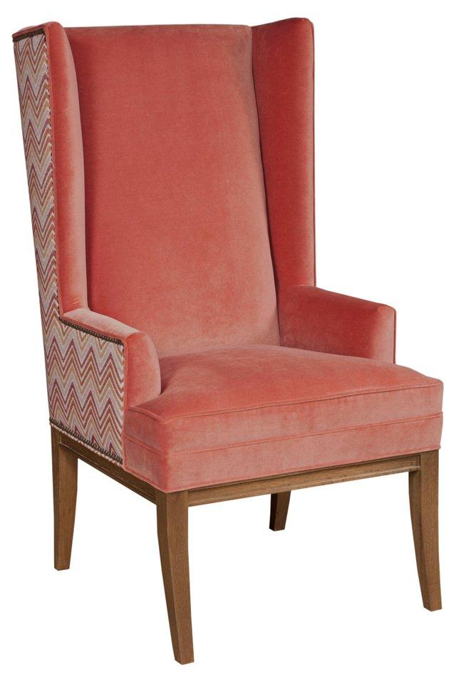 Kevin Velvet Wing Chair, Tangerine