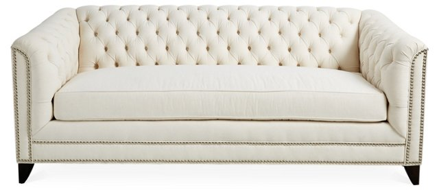 "Chip 80"" Chesterfield, Ivory Twill"