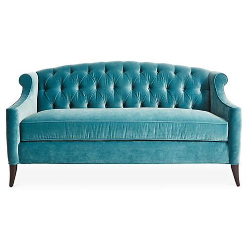 Coco Tufted Sofa, Calypso Velvet