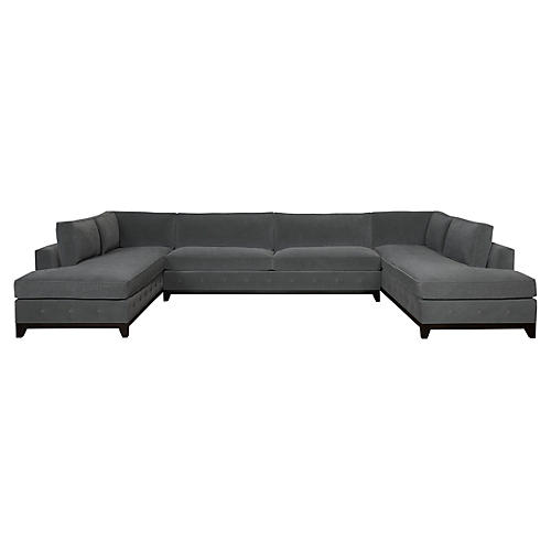 Raegan 3-Piece Sectional, Charcoal Velvet