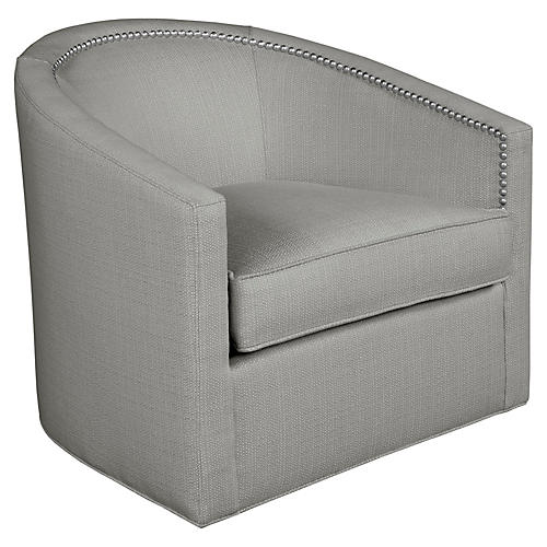 Georgia Swivel Chair, Gray Linen
