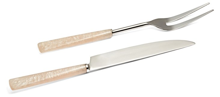 2-Pc Rose Quartz Carving Set