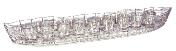 Boat Votive Holder w/ 9 Mercury Glasses