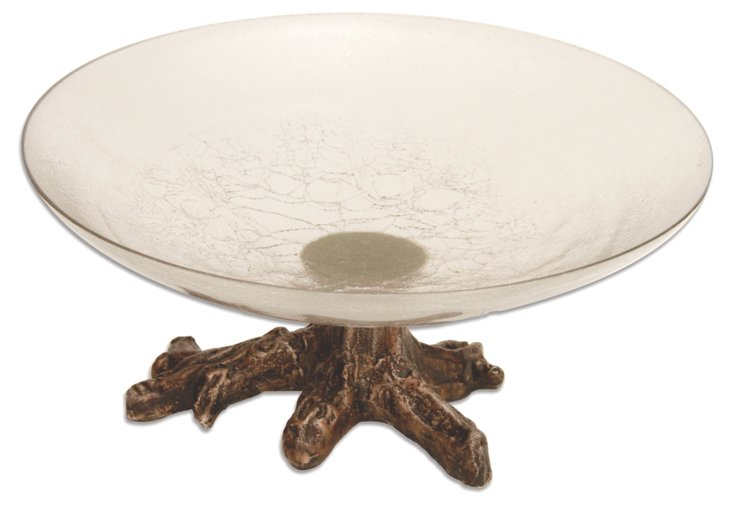 """16"""" Crackle Etched Glass Bowl"""