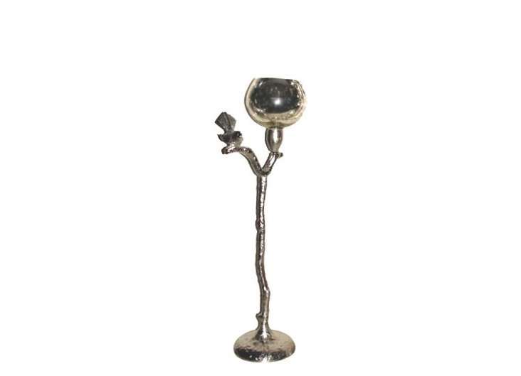 "21"" Crackle Glass Candleholder, Silver"
