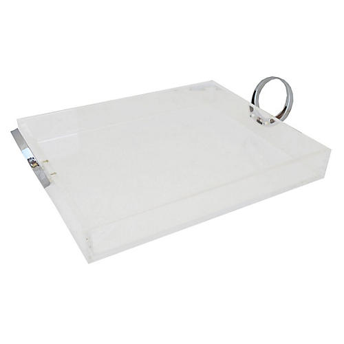 """11"""" Lucite Tray, Clear/Silver"""
