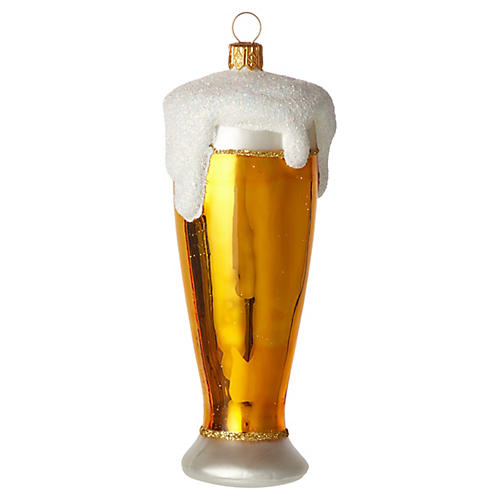 Beer Ornament, Gold/Frost