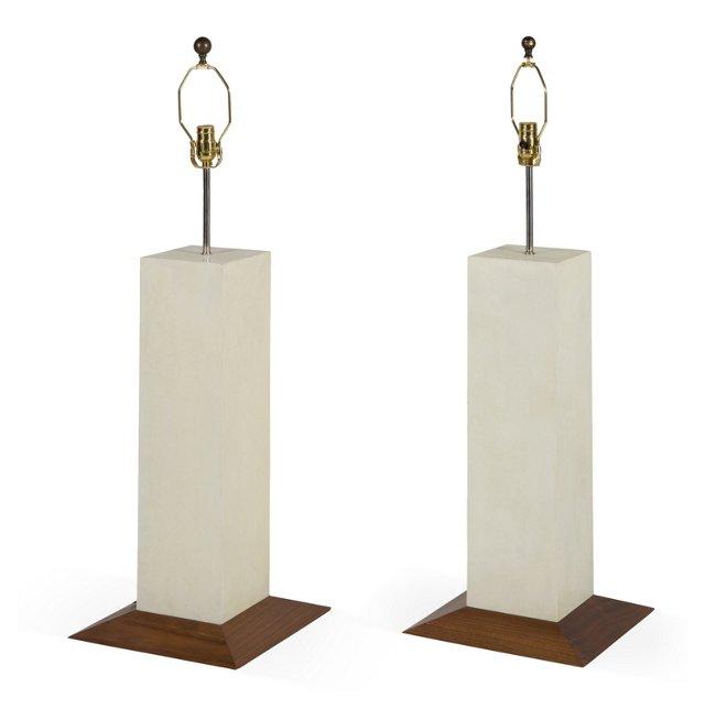 Wood & Vellum Lamps, Pair