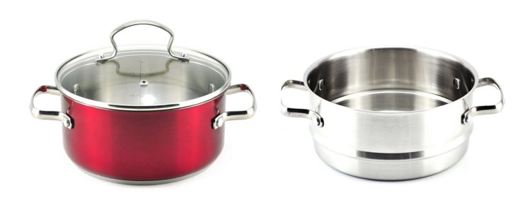 3 Qt Sauce Pot w/ Steamer Insert, Red