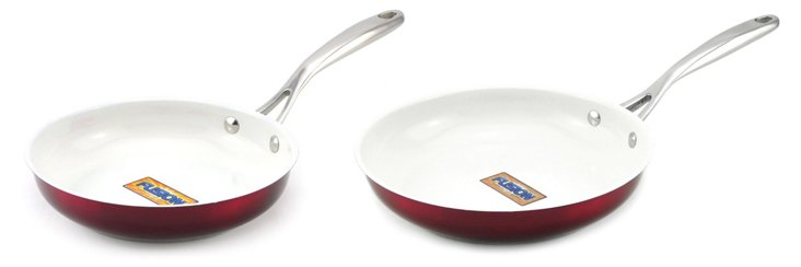 S/2 Nonstick Skillets, Red