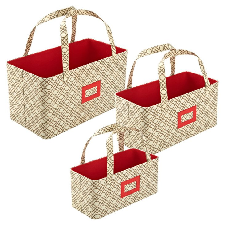 S/3 Nested Storage Totes, Bamboo Beige
