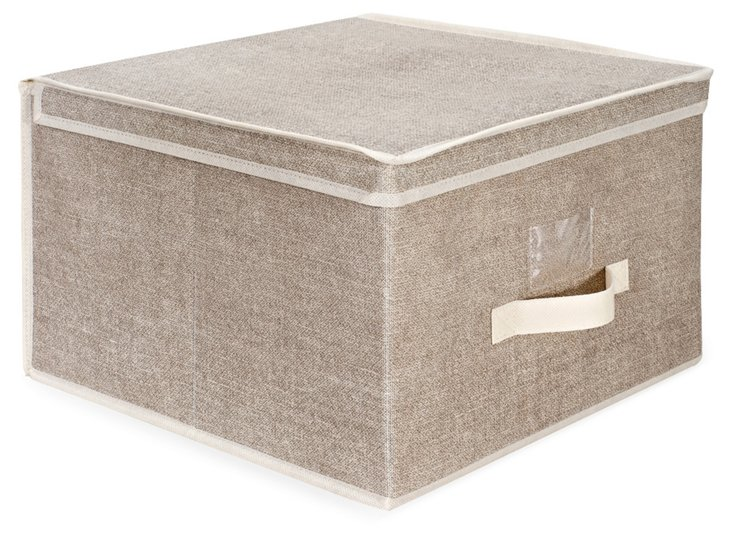 Faux-Jute Jumbo Storage Box, Beige