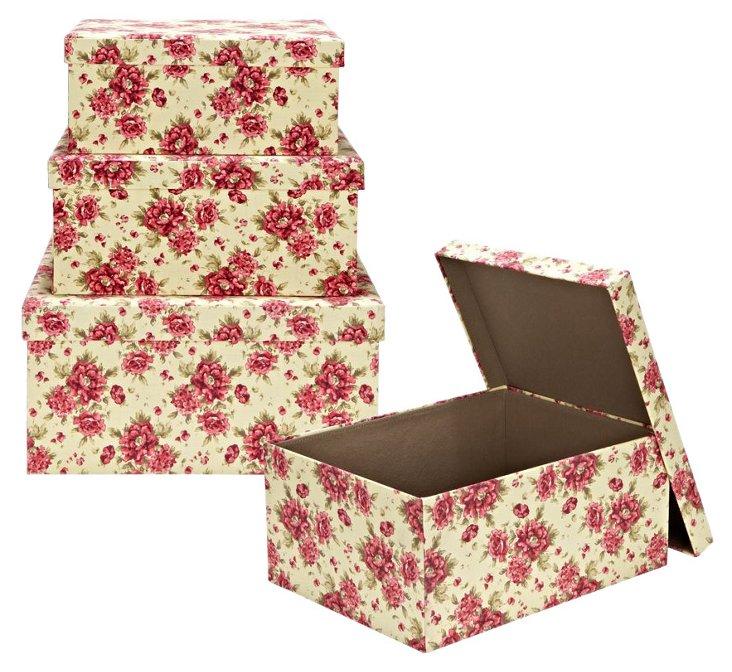 3-Pc Storage Box Set, Cranberry