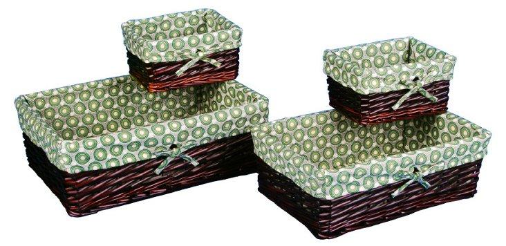 4-Pc Brown Willow Basket Set