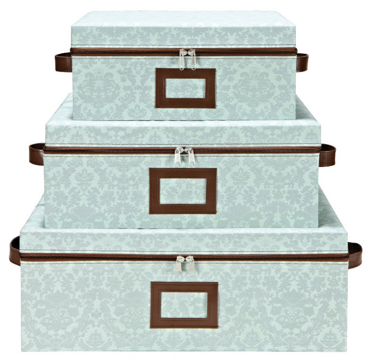 3-Pc Zippered Storage Box Set, Mint