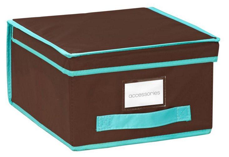 Medium Storage Box, Brown/Turq