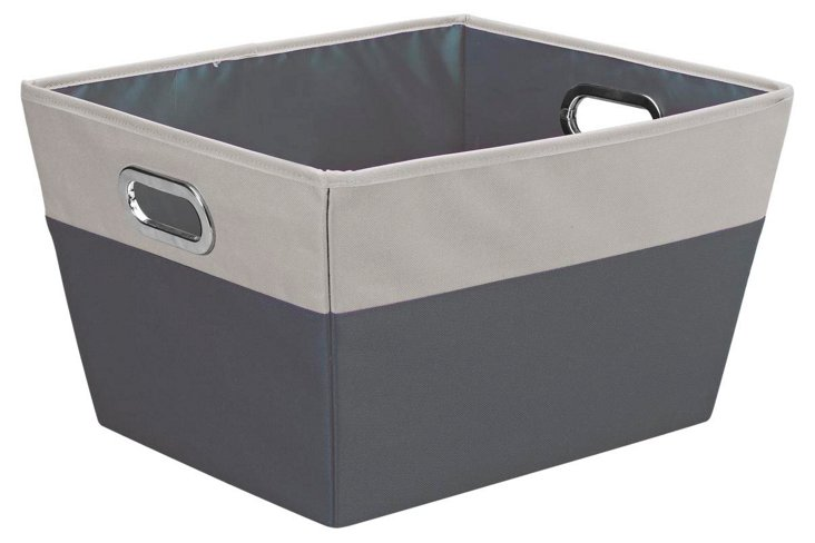Large Color-Block Storage Tote, Gray