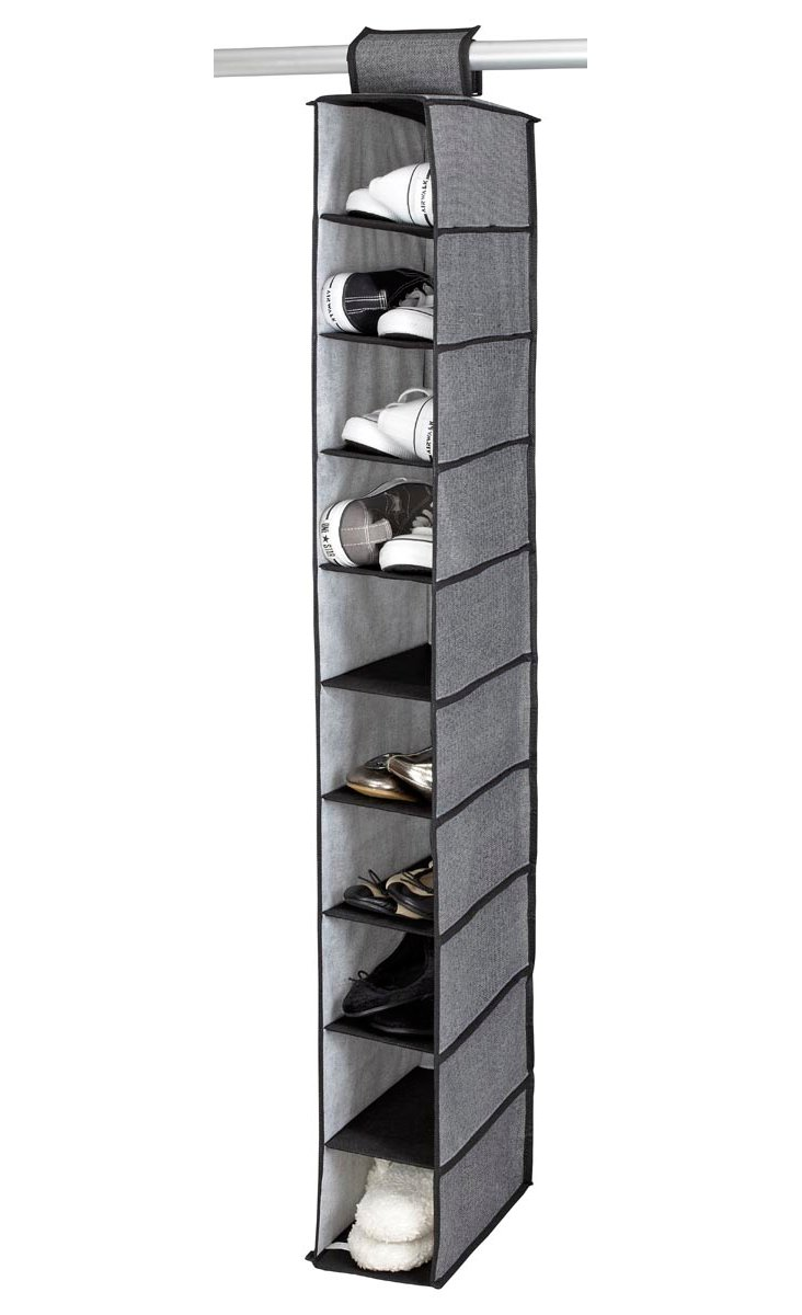 10-Shelf Shoe Organizer, Gray