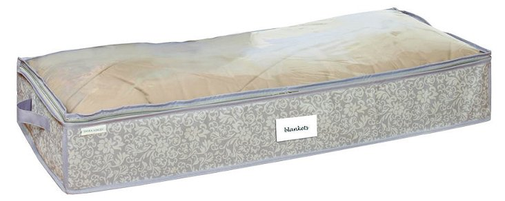 S/2 Under-Bed Storage Bags, Damask