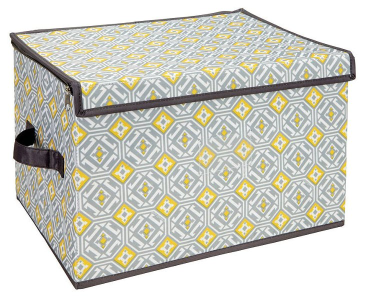 Large Zippered Storage Box, Geo Gray