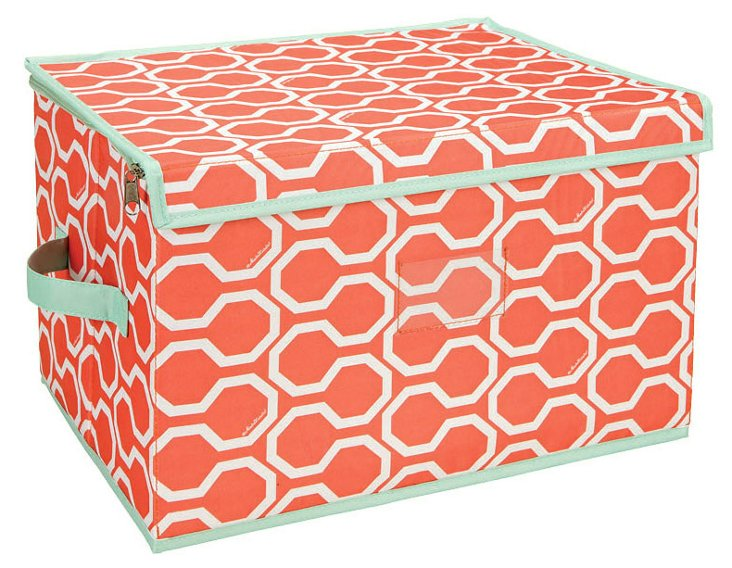 Large Zippered Box, Geo Orange