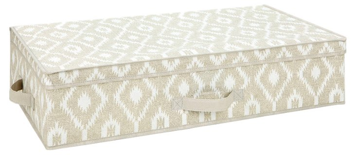 Under-the-Bed Storage Box, Taupe Ikat