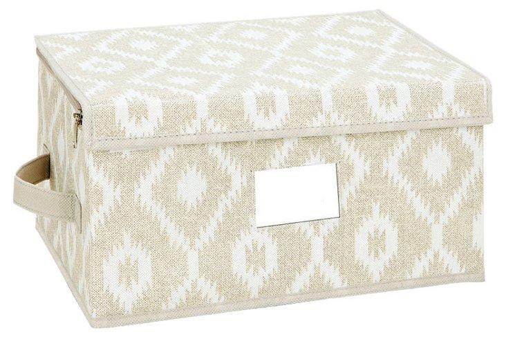 Medium Zippered Storage Box, Ikat