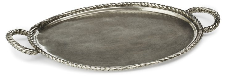 "12"" Pewter Tray w/ Rope Handles"