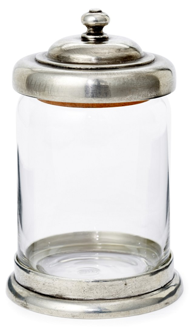 "6"" Pewter & Glass Canister"