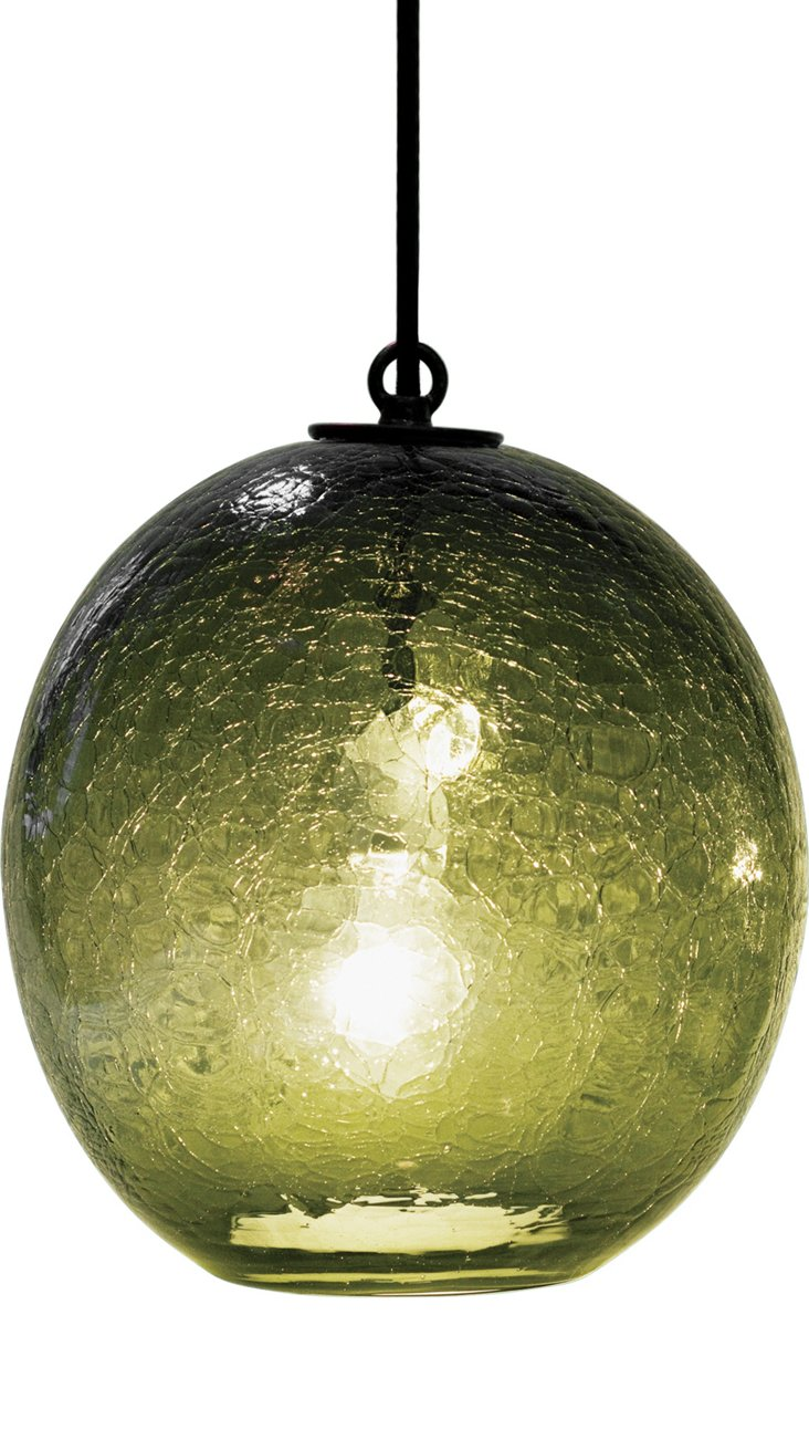 Sphere Boa Crackle Pendant, Olive
