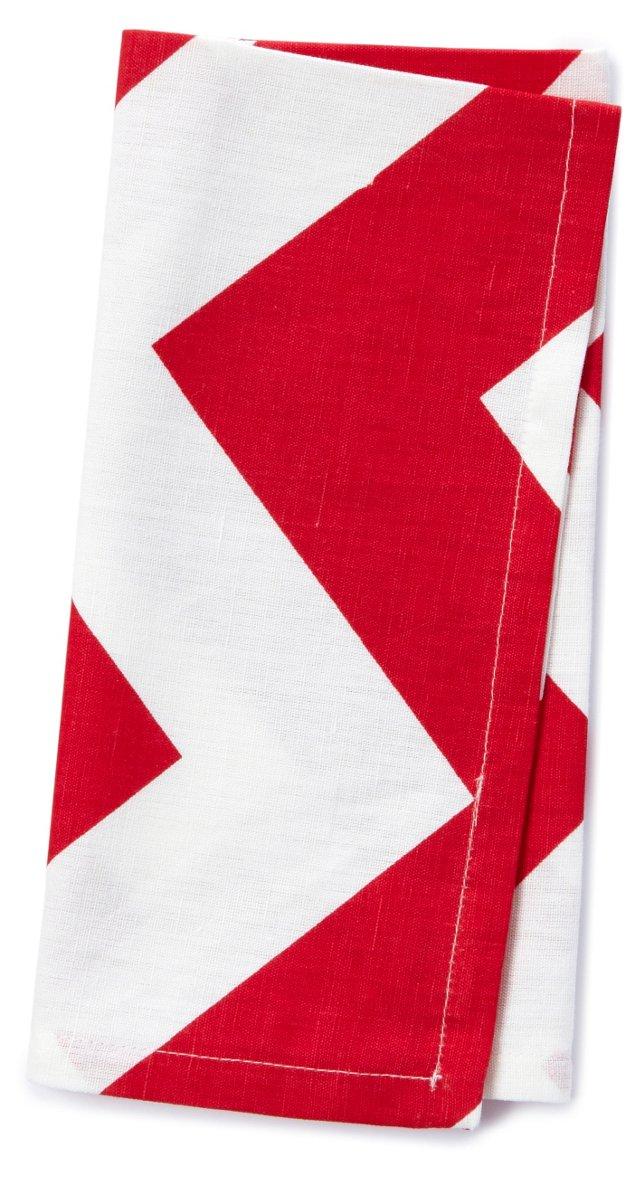 S/4 Chevron Napkins, Red