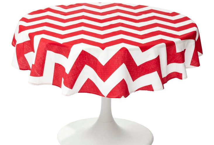 Round Chevron Tablecloth, Red