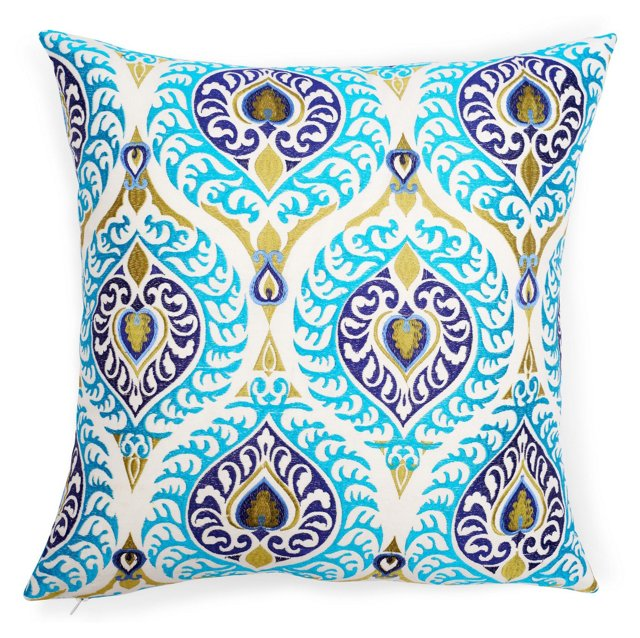 Reversible Jali 18x18 Pillow, Sky Blue