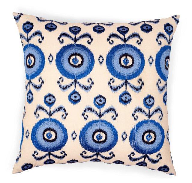 Reversible Jali 18x18 Pillow, Blue